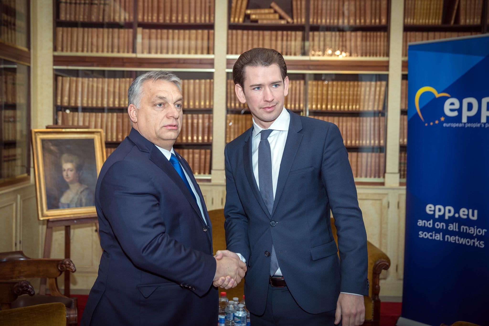 Sebastian Kurz and Viktor Orbán at the EPP summit in December 2018.