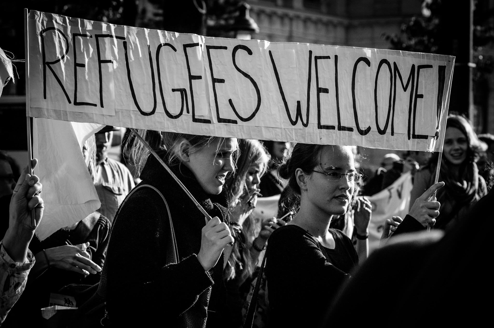 Manifestation pour l'accueil des réfugiés, à Vienne, Franz Jachim